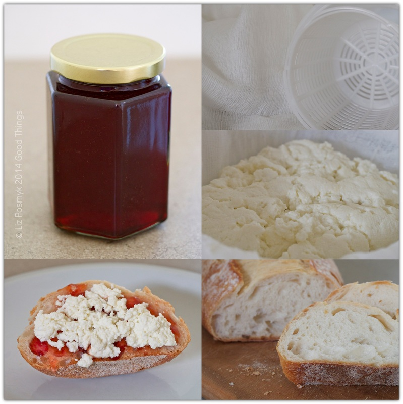 Freshly made ricotta a la Lizzy served with quince jelly on fresh sourdough