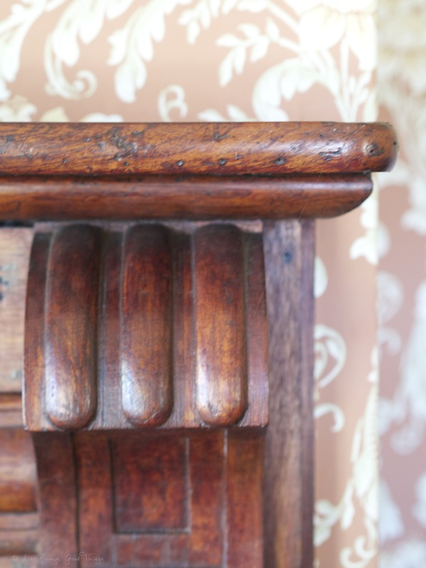 Carved furniture against wallpaper at Cooma Cottage in Yass - Liz Posmyk Good Things