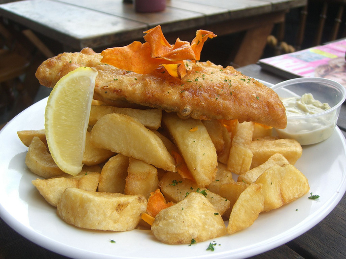Herbed, beer-battered fish and chips