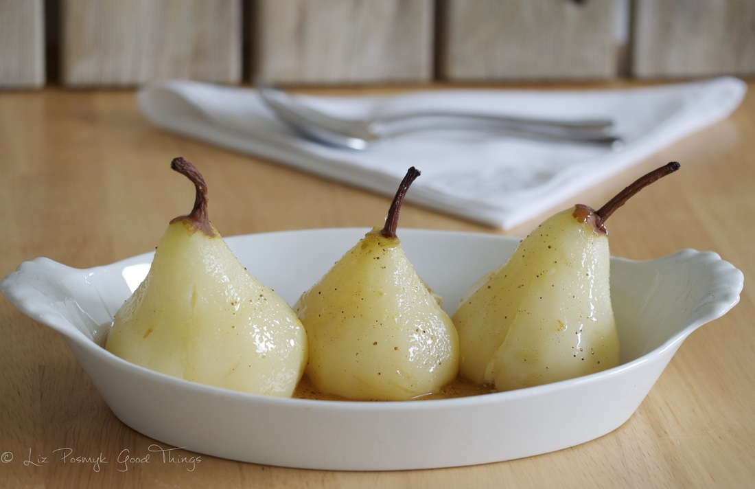 Serve the poached pears as they are or stuff with hazelnut cream and pour over the melted chocolate frangelico sauce
