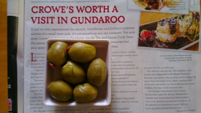 Smoked olives - Crowes at Gundaroo