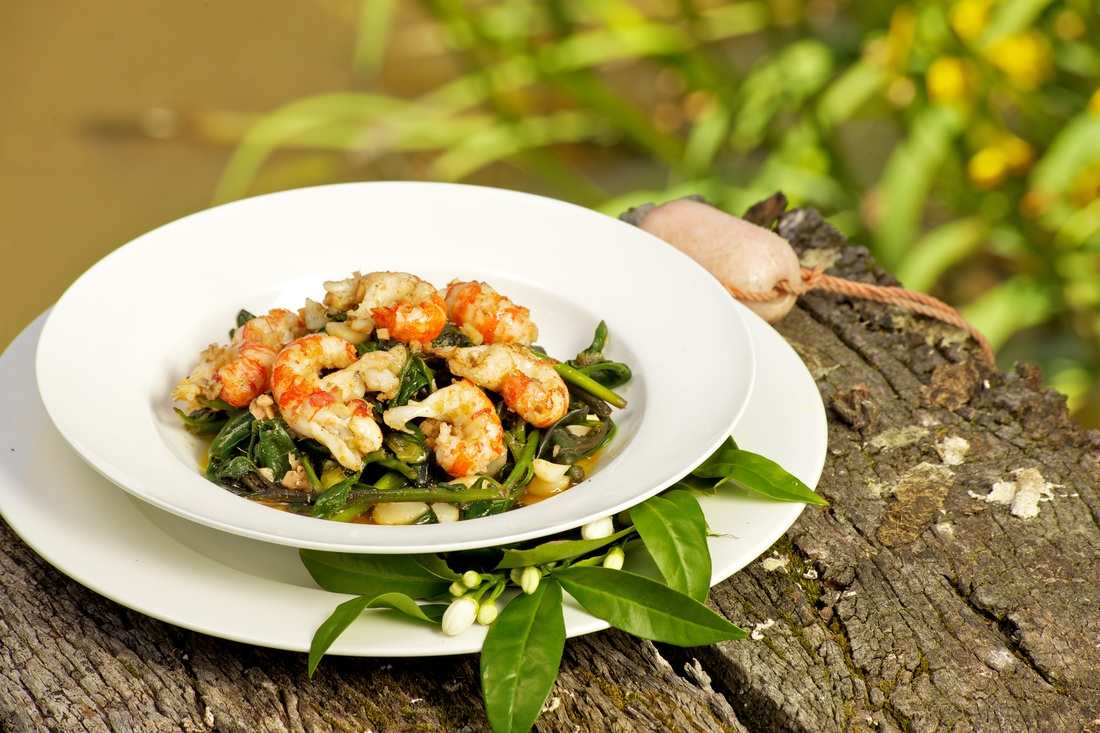 Lyndey Milan's Poached yabbies in native flavours with lemon myrtle butter and macadamia warrigal greens