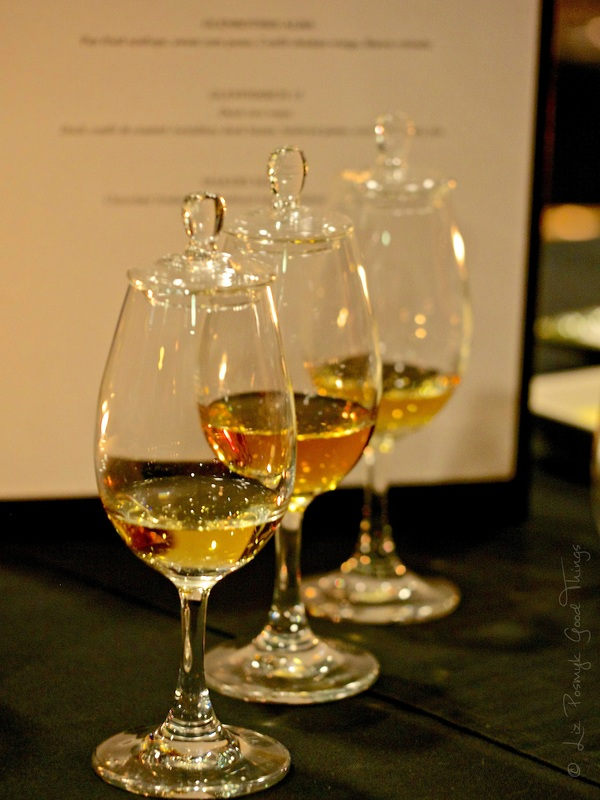 Laphroaig Quarter Cask, Glenrothes Alba and Glenfiddich 15 years Solera lined up for the Dinner with Whisky - image by Liz Posmyk Good Things