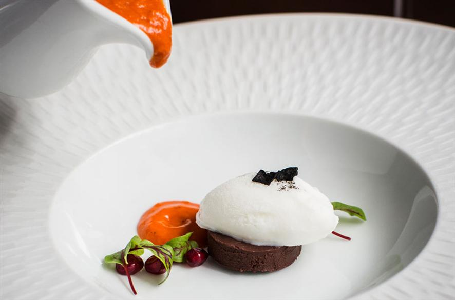 Katers Restaurant Sweet bell pepper soup with goat's cheese sorbet, chocolate chilli panna cotta (image courtesy Peppers)
