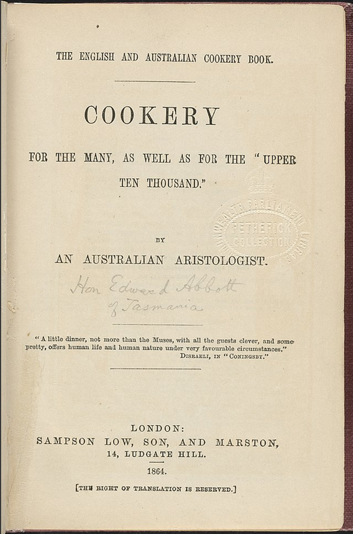 Title page of Australia's first cookery book