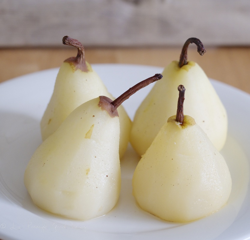 Vanilla poached pears - poach until they are just tender