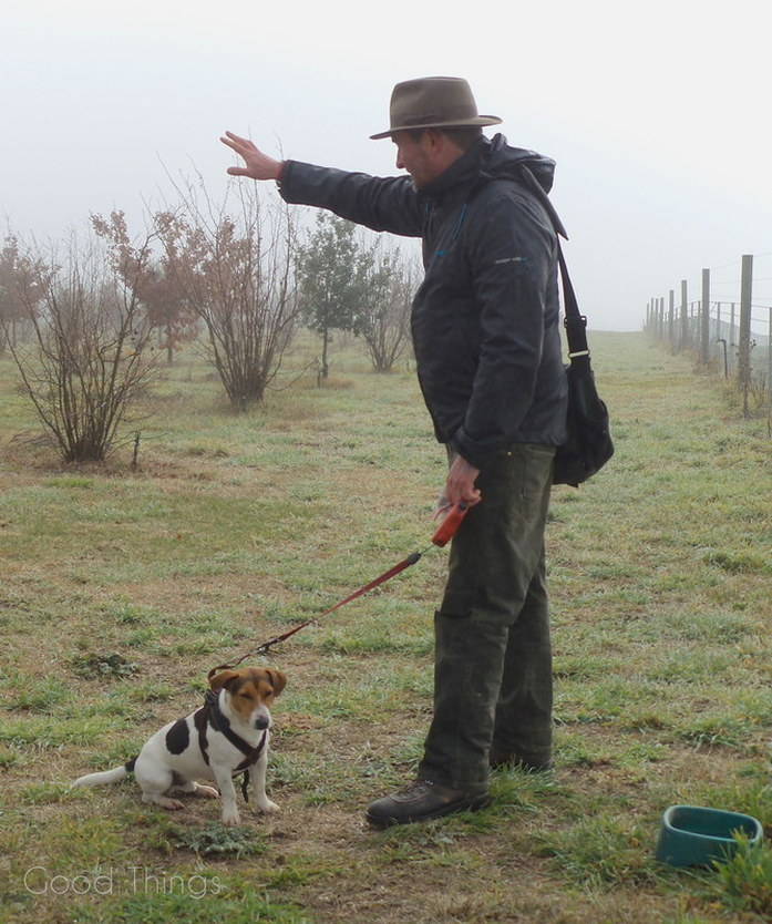Damian Robinson with Frisbee the truffle dog  at Turalla Truffles near Bungendore - photo Liz Posmyk, Good Things