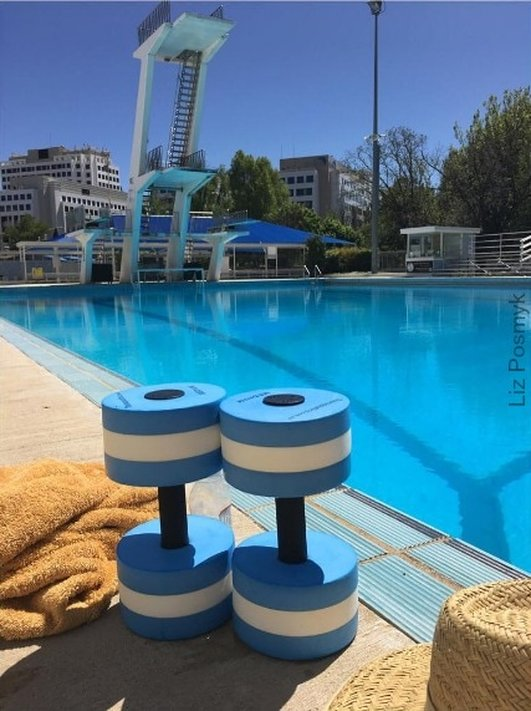 Aqua dumbells at the Canberra Olympic Pool - Liz Posmyk