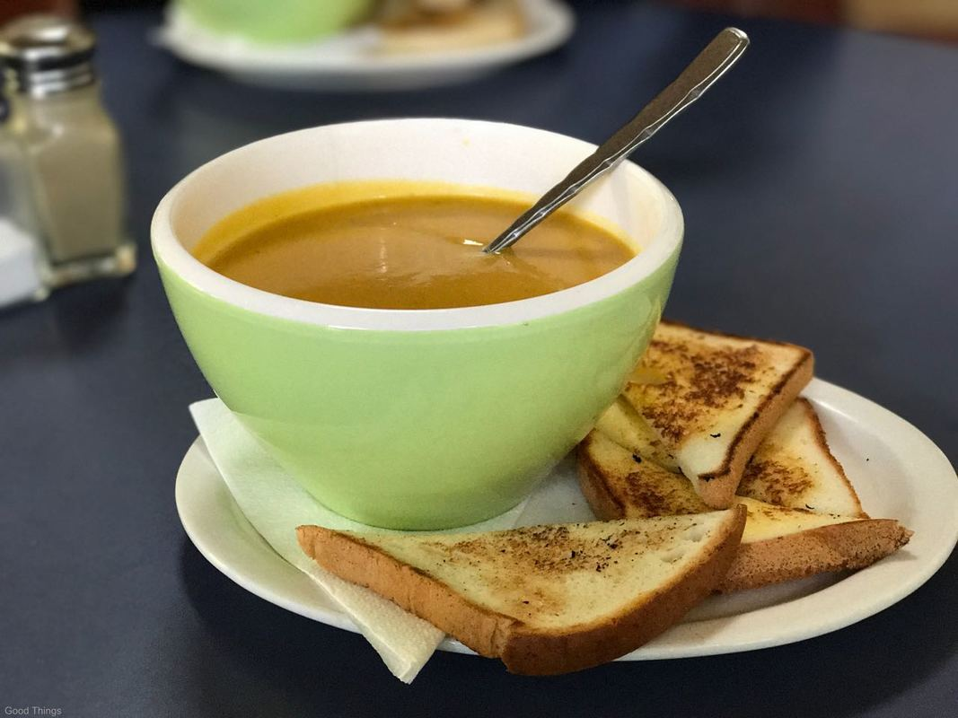 Pumpkin soup and gluten free toast at the Fitzroy Falls Visitor Centre - Liz Posmyk Good Things