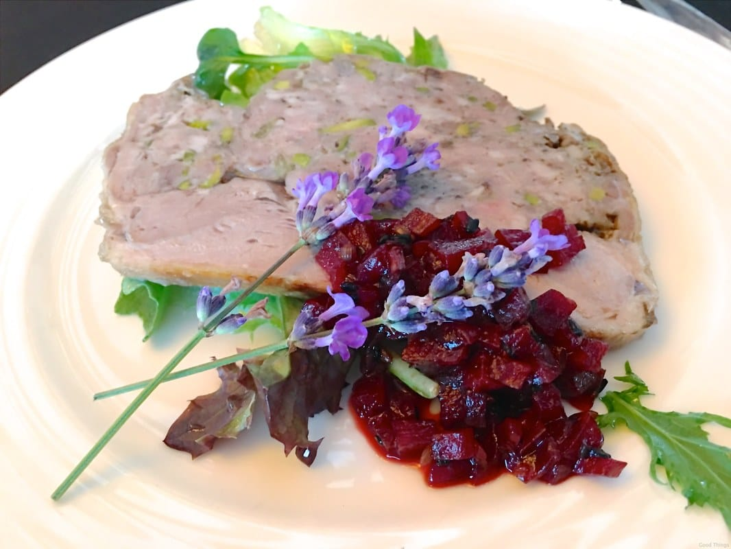 Chef Janet Jeffs created this duck and pork galantine with beetroot chutney - Liz Posmyk Good Things
