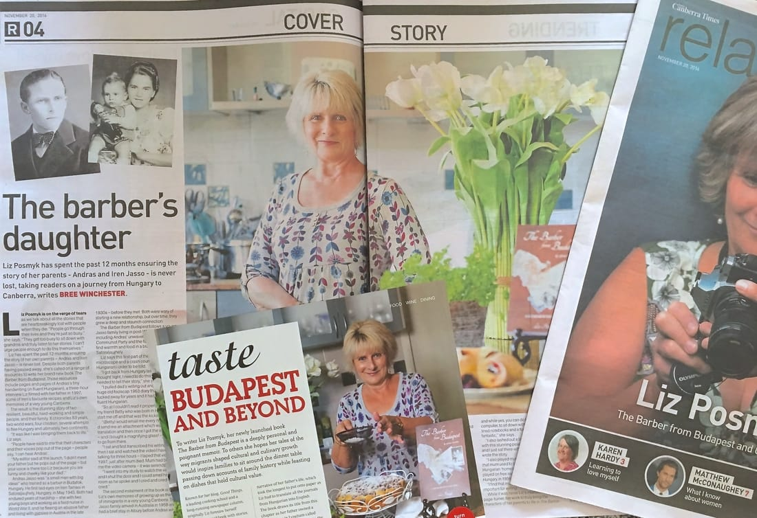 Media coverage for Liz Posmyk's book, The Barber from Budapest & other stories - photo copyright Good Things