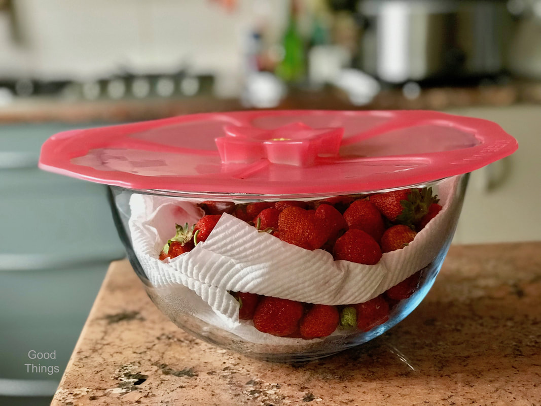 Fresh strawberries from my garden in a Pyrex dish with a Charles Viancin silicone lid - Liz Posmyk Good Things