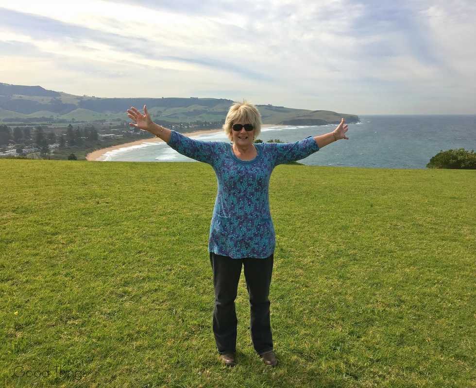 Food and travel writer, Liz Posmyk, at Seven Mile Beach on the NSW south coast
