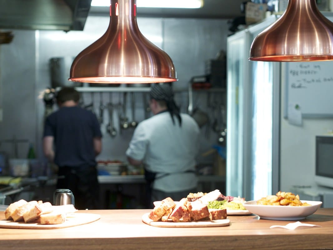 Chefs in the kitchen at Poachers Pantry - looking through the pass - Liz Posmyk, Good Things