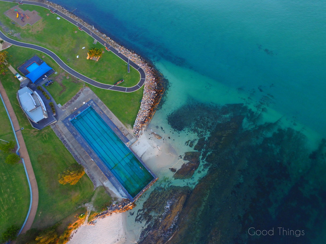 The Huskisson Pool shot from above