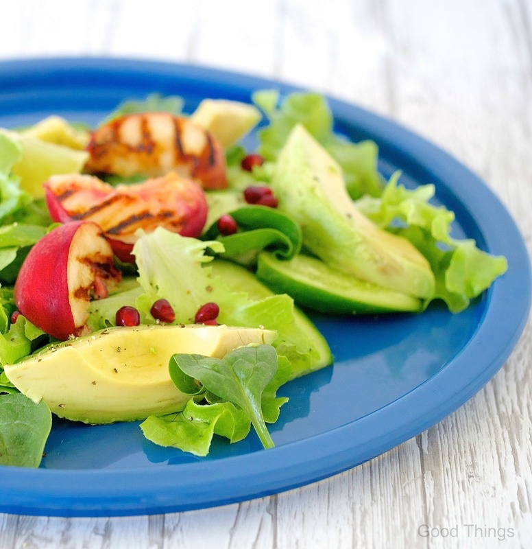 Liz Posmyk's Salad of grilled peaches, avocado, lime and pomegranate - Good Things