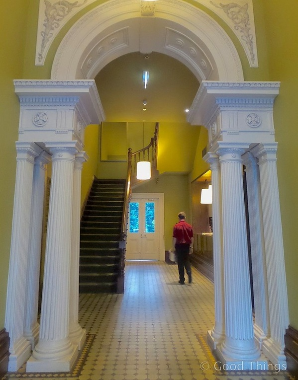 Pillars in the entrance foyer at the Adina Treasury in Adelaide - Liz Posmyk Good Things