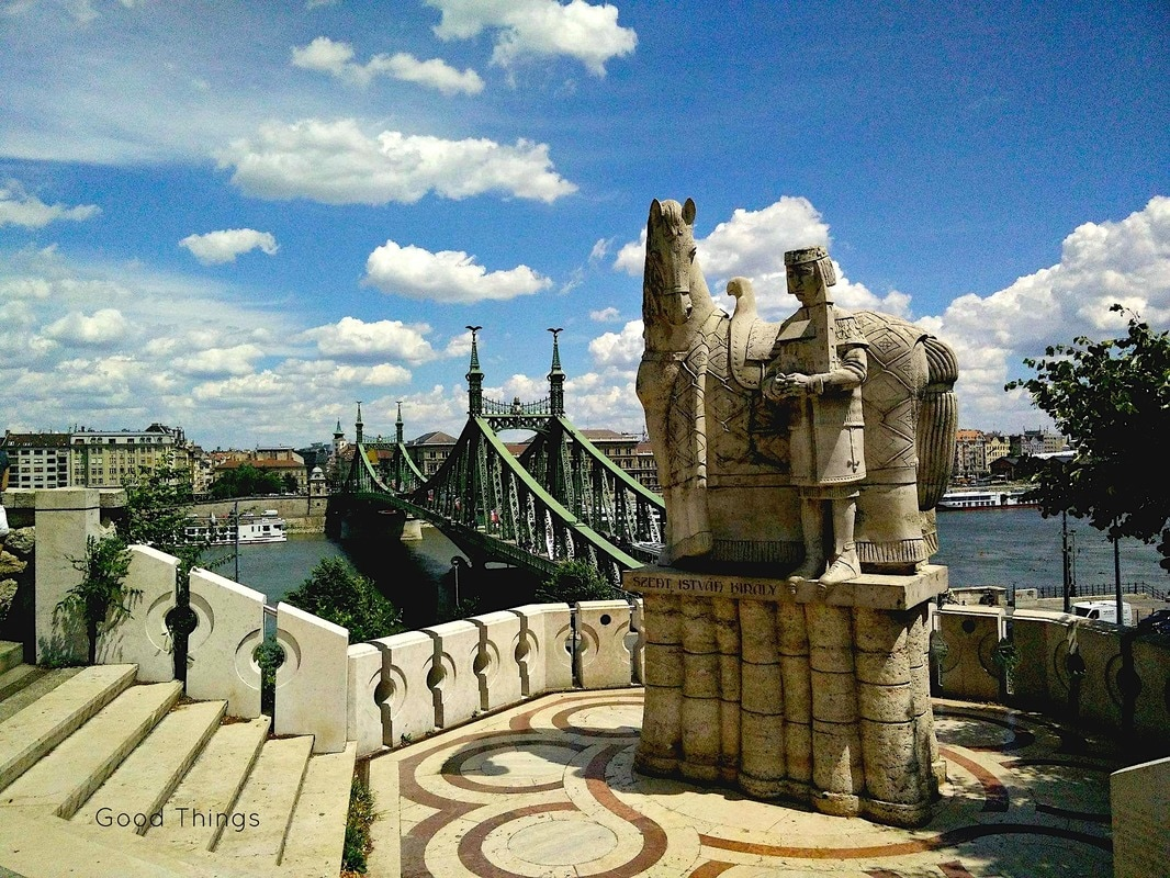 Saint Stephen (Szent Istvan), King of Hungary, which sits on Gellért Hegy overlooking the Danube River and Szabadság híd (Liberty or Independence Bridge) - Liz Posmyk